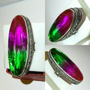 "2"" Green & Amethyst Ametrine Quartz Vintage Ring"